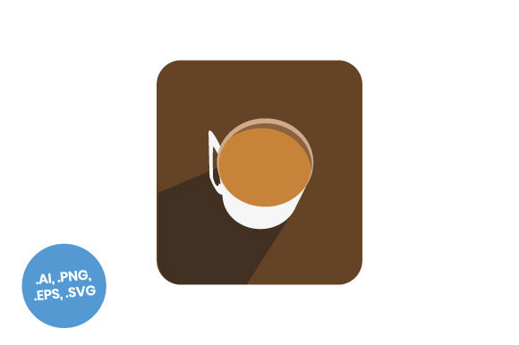 Download Free Top View Coffee Cup Flat Icon Graphic By Sasongkoanis Creative for Cricut Explore, Silhouette and other cutting machines.