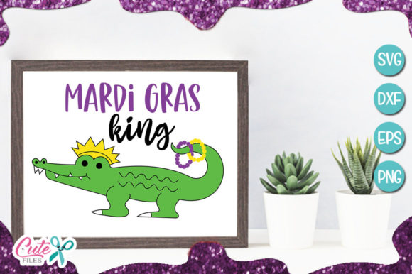 Mardi Gras King Alligartor Graphic Illustrations By Cute files - Image 1