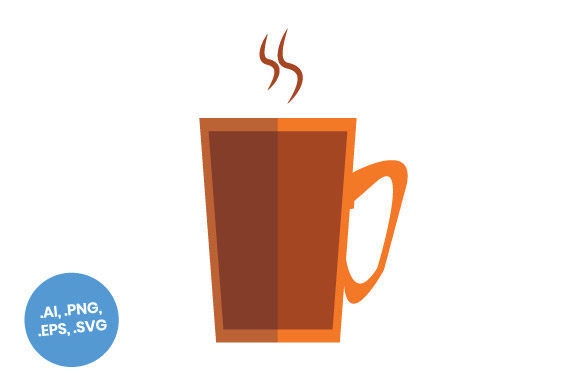 Download Free Orange Coffee Mug Flat Icon Graphic By Sasongkoanis Creative for Cricut Explore, Silhouette and other cutting machines.