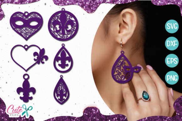 Mardi Gras Earring Templante Bundle Graphic Illustrations By Cute files - Image 1