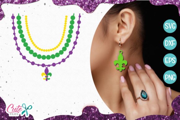 Beaded Necklace and Arete Templante Graphic Illustrations By Cute files