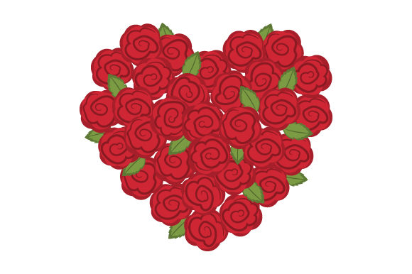 Heart Made of Roses Valentine's Day Craft Cut File By Creative Fabrica Crafts
