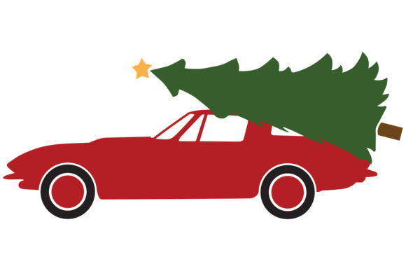 Download Free 1964 Sports Car With Christmas Tree Graphic By Idrawsilhouettes for Cricut Explore, Silhouette and other cutting machines.