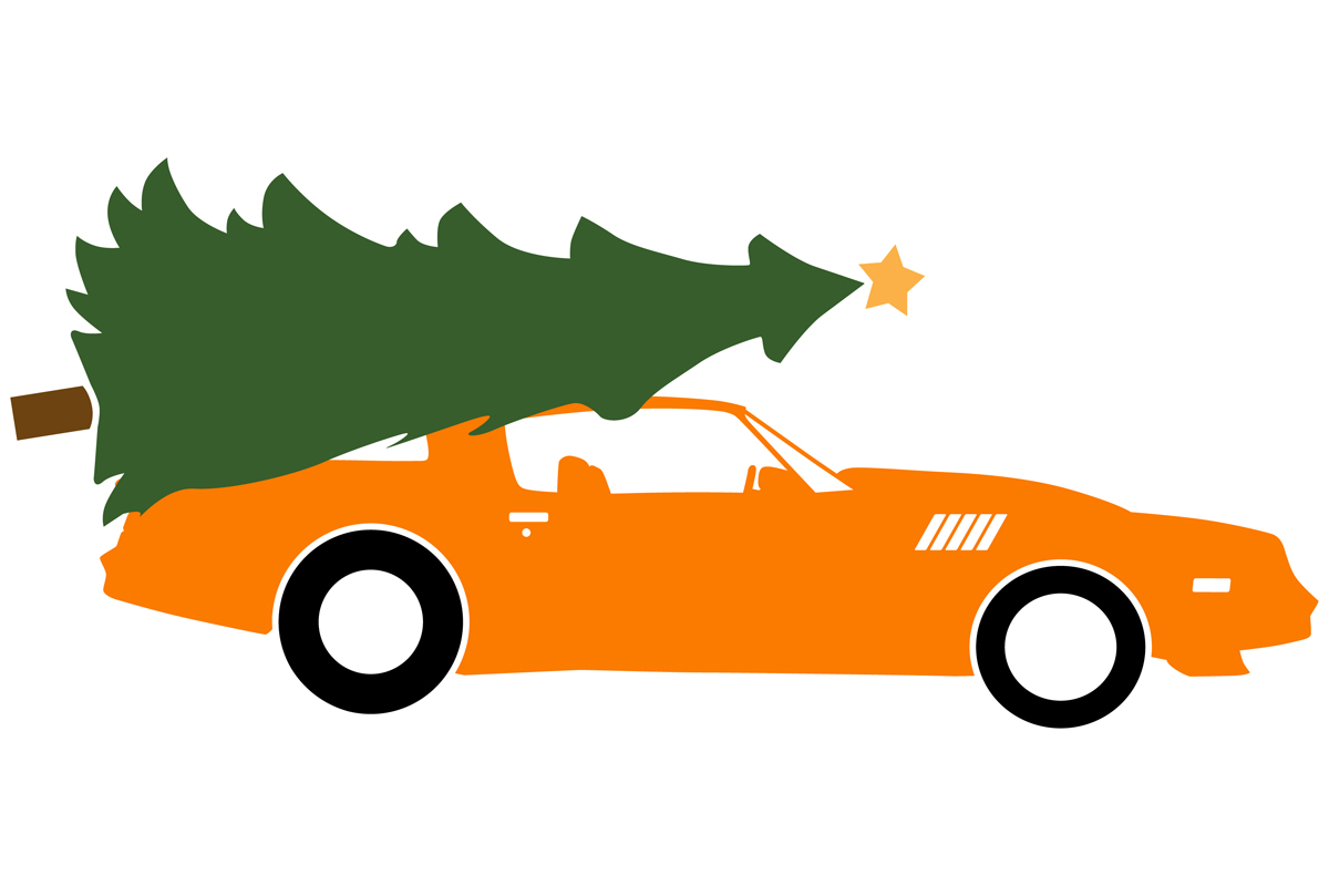 Download Free 1979 Sports Car With Christmas Tree Graphic By Idrawsilhouettes for Cricut Explore, Silhouette and other cutting machines.