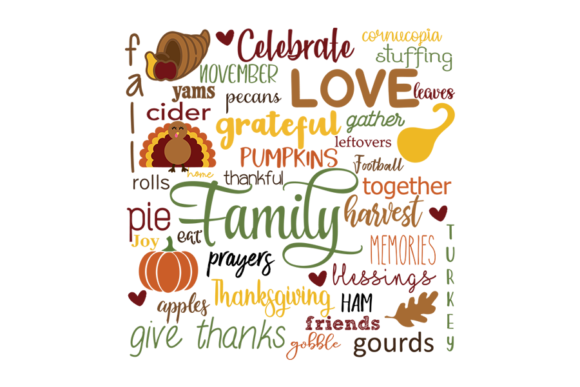 Download Free Thanksgiving Compilation Words Graphic By Am Digital Designs Creative Fabrica for Cricut Explore, Silhouette and other cutting machines.