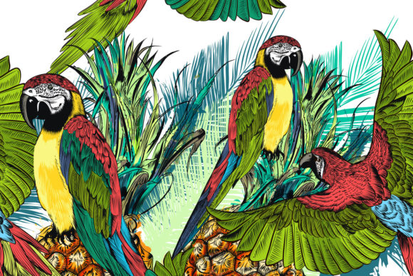 Tropical Pattern with Parrots Grafik Muster von fleurartmariia