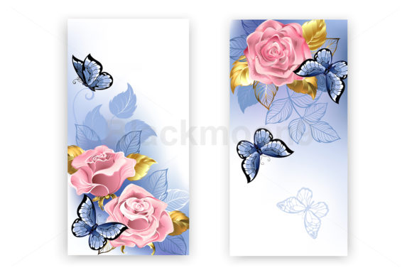 Two Banners with Pink Roses Graphic Print Templates By Blackmoon9
