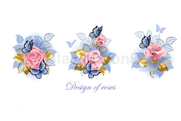 Set of Pink Roses with Butterflies Graphic Illustrations By Blackmoon9