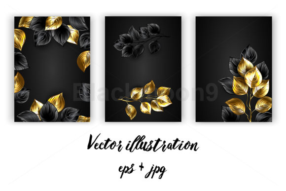 Design with Black and Gold Branches Graphic Print Templates By Blackmoon9