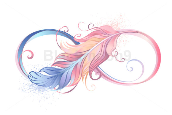 Infinity Symbol with Pink Feather Graphic Illustrations By Blackmoon9