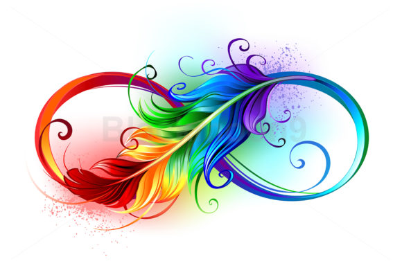 Infinity Symbol with Rainbow Feather Graphic Illustrations By Blackmoon9 - Image 1