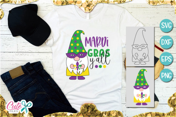 Mardi Gras Yall Gnome Graphic Illustrations By Cute files - Image 1