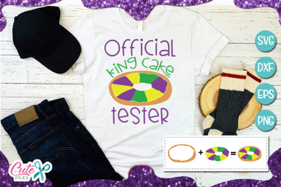 Official King Cake Tester Graphic Illustrations By Cute files - Image 1