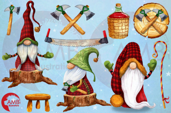 Christmas Watercolor Cabin Gnomes Graphic Illustrations By AMBillustrations - Image 10