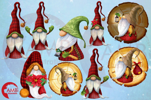 Christmas Watercolor Cabin Gnomes Graphic Illustrations By AMBillustrations - Image 6