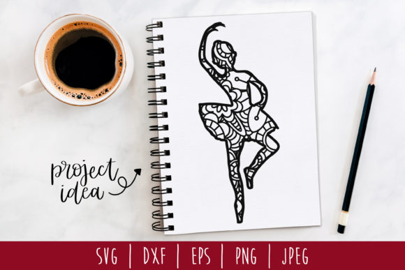 Download Free Ballerina Mandala Zentangle Graphic By Savoringsurprises for Cricut Explore, Silhouette and other cutting machines.