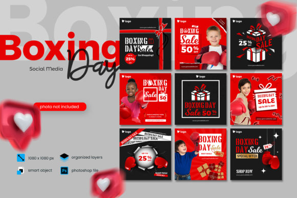 Print on Demand: Boxing Day Sale Social Media Template Graphic Websites By diqtam