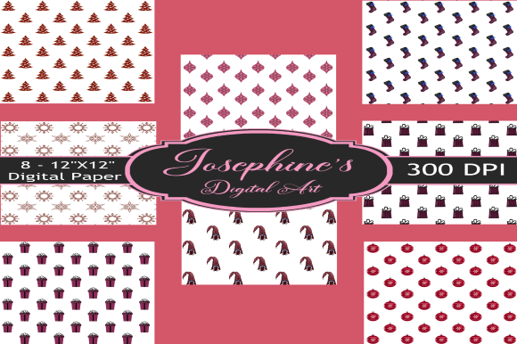Print on Demand: Maroon Red Christmas Design Set of 8 Graphic Backgrounds By Josephine's Digital Art