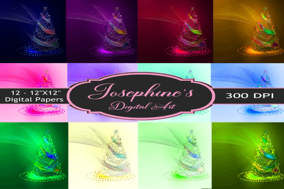 Print on Demand: Christmas Mystic Tree Design Set of 12 Graphic Backgrounds By Josephine's Digital Art