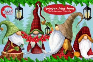 Christmas Watercolor Cabin Gnomes Graphic Illustrations By AMBillustrations