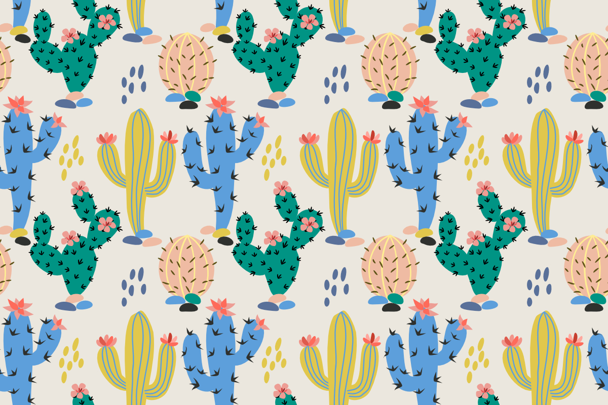 Download Free Colorful Cactus Seamless Pattern Graphic By Ranger262 for Cricut Explore, Silhouette and other cutting machines.