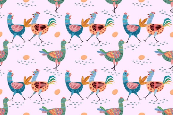 Cute Chicken Design Seamless Pattern. Graphic Patterns By ranger262