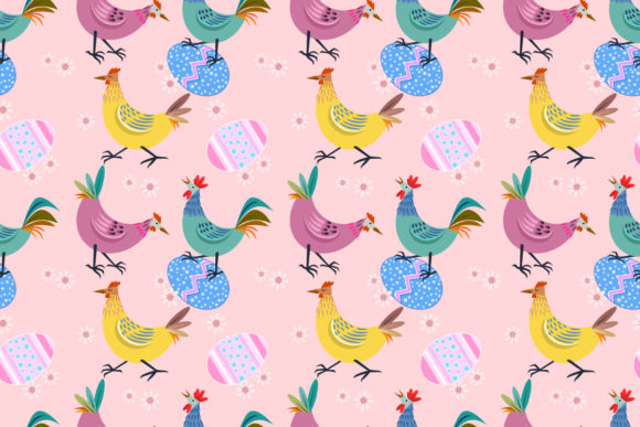 Chicken with Easter Egg Seamless Pattern Graphic Patterns By ranger262