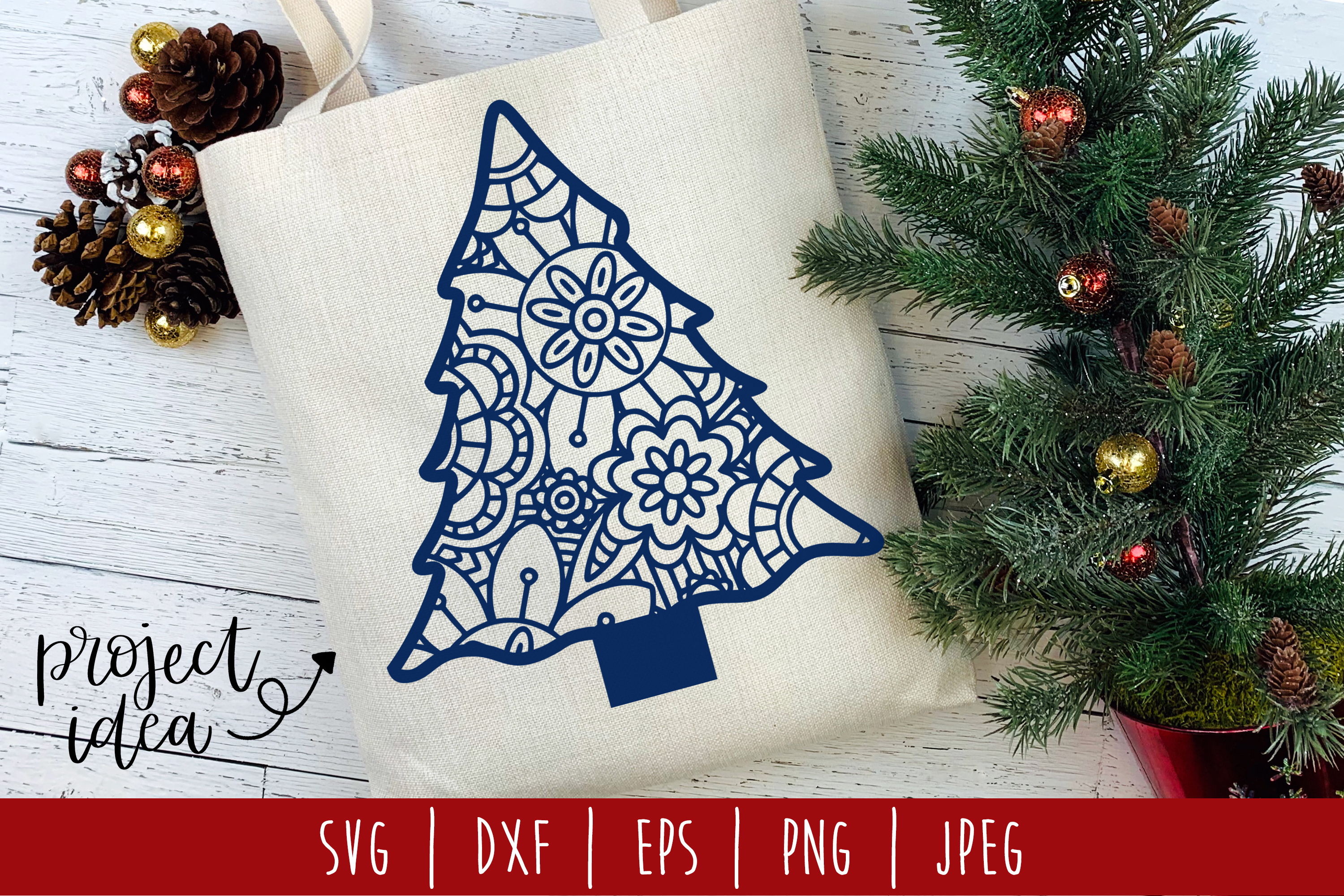 Download Free Christmas Tree Mandala Zentangle Graphic By Savoringsurprises for Cricut Explore, Silhouette and other cutting machines.