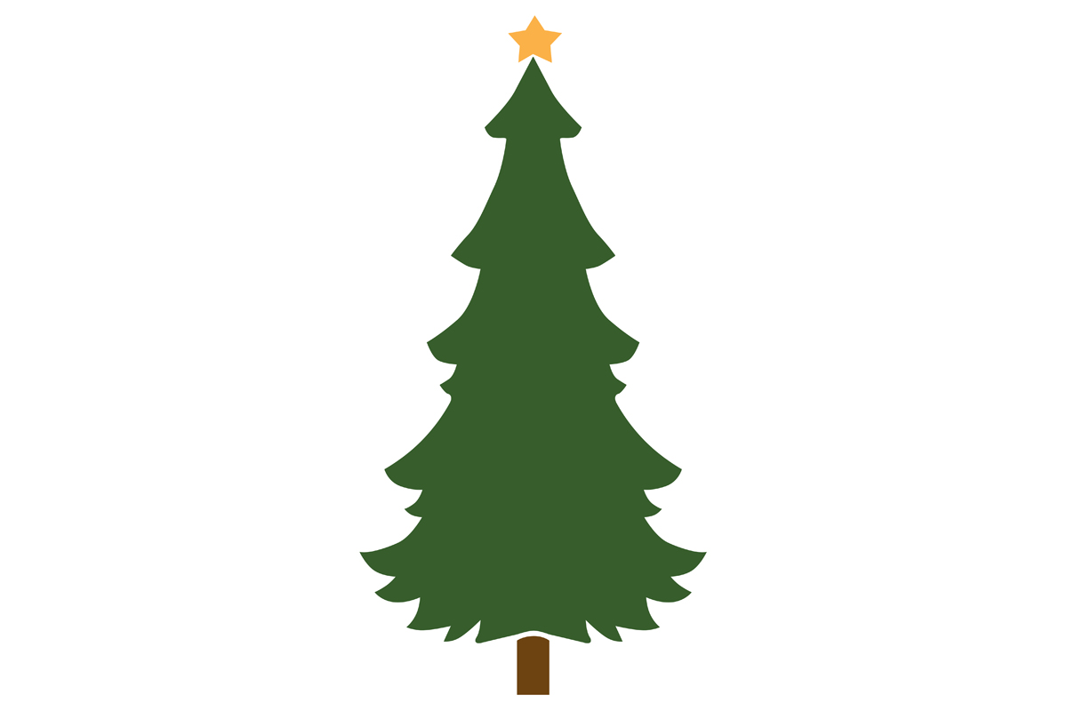 Download Free Christmas Tree With Gold Star Grafik Von Idrawsilhouettes for Cricut Explore, Silhouette and other cutting machines.