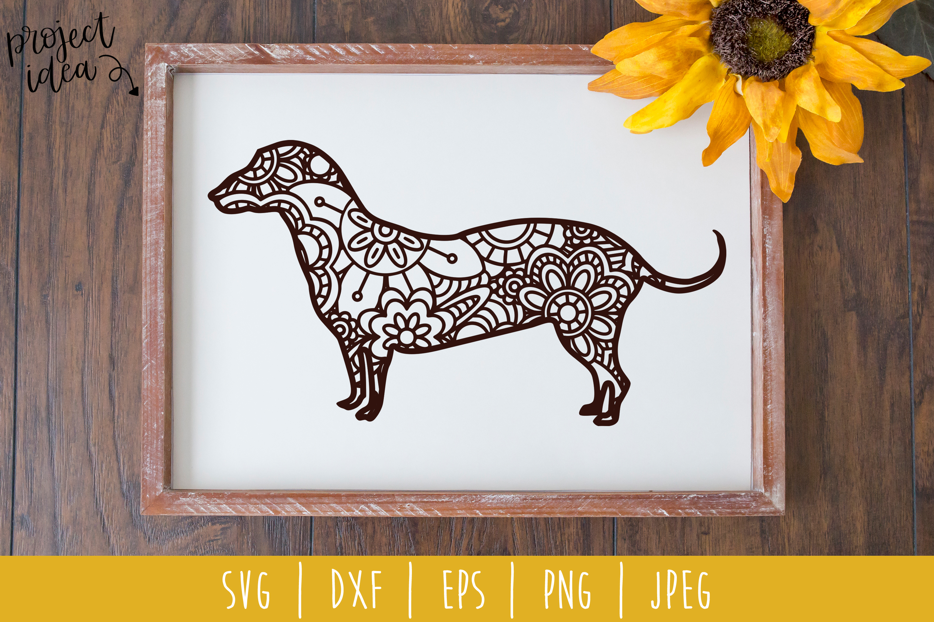 Download Free Dachshund Mandala Zentangle Graphic By Savoringsurprises for Cricut Explore, Silhouette and other cutting machines.
