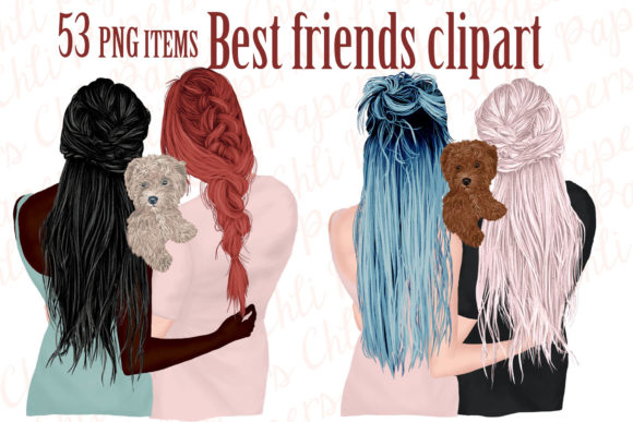 Best Friends Clipart,Girls and Dogs Graphic Illustrations By ChiliPapers