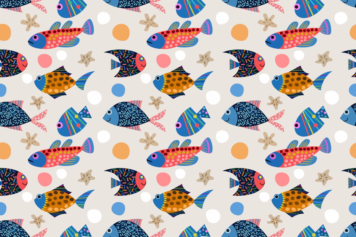 Download Free Colorful Fish Design Seamless Pattern Graphic By Ranger262 for Cricut Explore, Silhouette and other cutting machines.