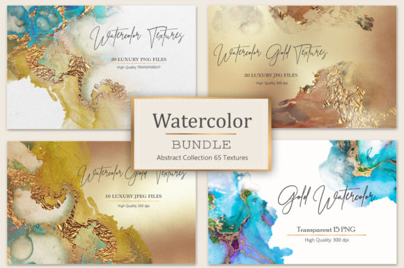 Print on Demand: Gold Watercolor and Foil Textures-BUNDLE Graphic Textures By Creative Paper