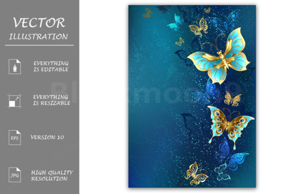Golden Butterflies on a Blue Background Graphic Illustrations By Blackmoon9