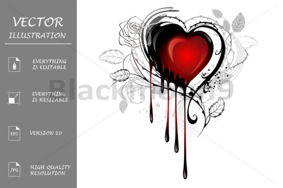 Heart Drawn with Paint Graphic Illustrations By Blackmoon9