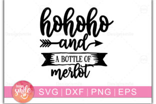 Print on Demand: Hohoho and a Bottle of Merlot Graphic Print Templates By Designdealy