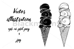 Ice Cream with Three Balls Graphic Illustrations By Blackmoon9