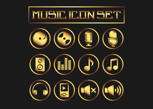 Gold Music Icon Vector Graphic Icons By Nino Studios