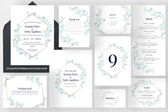 Eucalyptus Wedding Invitation Set Graphic Print Templates By Azka Creative