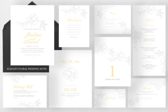 Elegant Floral Wedding Suite Graphic Print Templates By Azka Creative