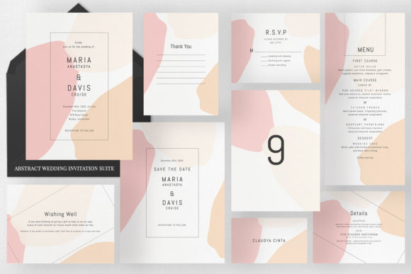 Abstract Wedding Invitation Suite Graphic Print Templates By Azka Creative