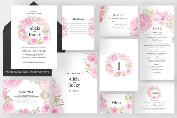Soft Watercolor Floral Wedding Suite Graphic Print Templates By Azka Creative