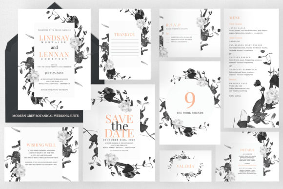 Modern Grey Botanical Wedding Suite Graphic Print Templates By Azka Creative