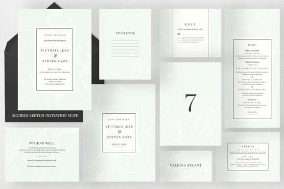 Modern Sketch Wedding Suite Graphic Print Templates By Azka Creative