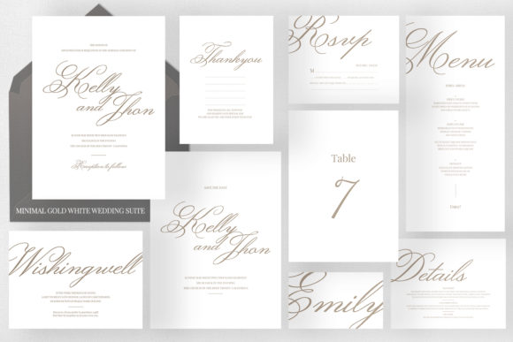 Minimal Gold White Wedding Suite Graphic Print Templates By Azka Creative