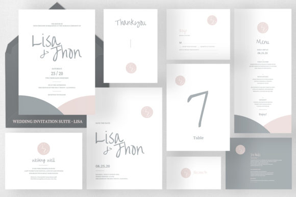 Wedding Invitation Suite - Lisa Graphic Print Templates By Azka Creative