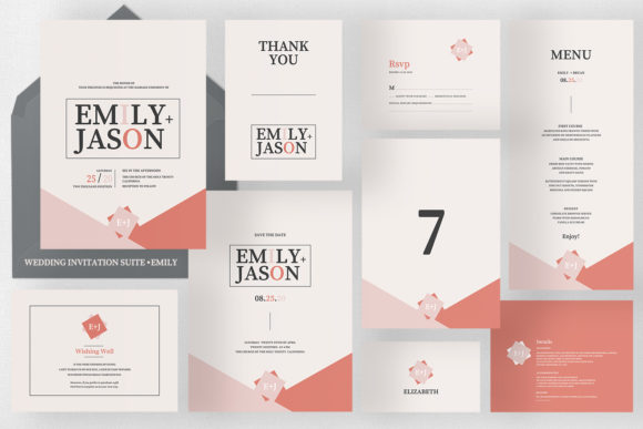 Wedding Invitation Suite - Emily Graphic Print Templates By Azka Creative