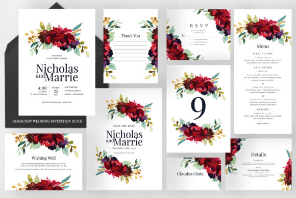 Burgundy - Wedding Invitation Suite Graphic Print Templates By Azka Creative