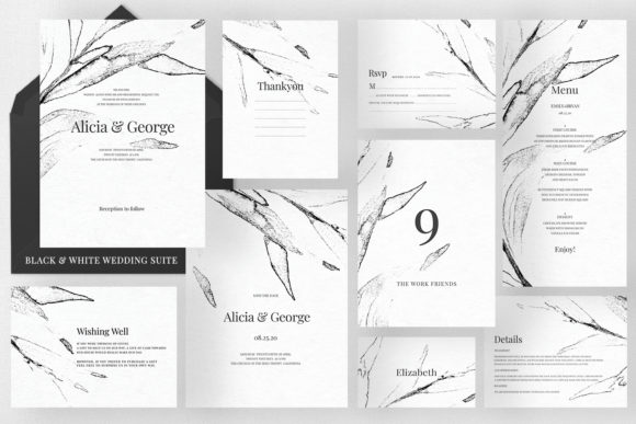 Black & White Wedding Suite Graphic Print Templates By Azka Creative