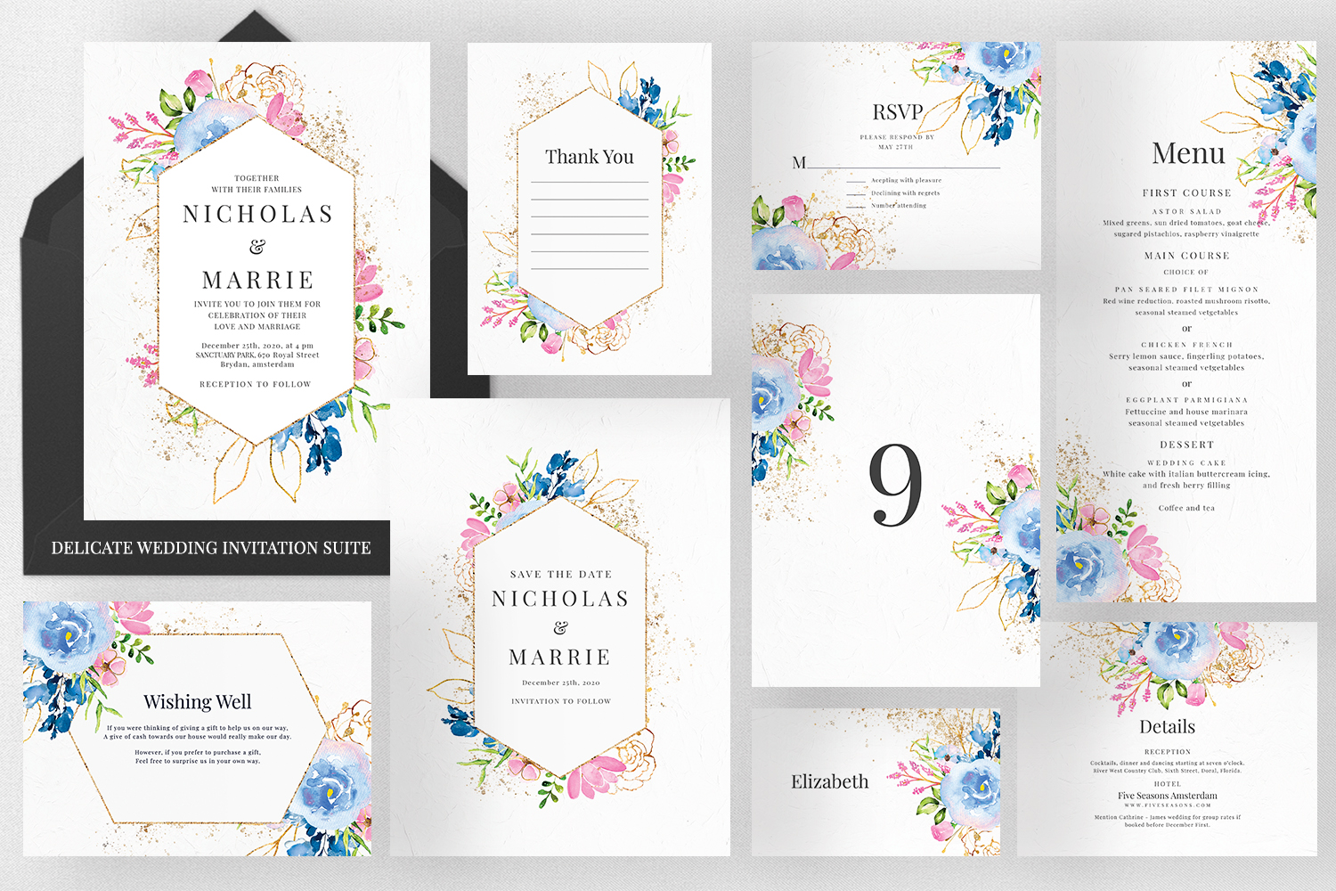 Download Free Delicate Wedding Invitation Suite Graphic By Azka Creative for Cricut Explore, Silhouette and other cutting machines.